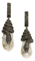 Estate Jewelry:Earrings, Diamond, Freshwater Cultured Pearl, Silver Earrings. ...