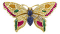 Estate Jewelry:Brooches - Pins, Multi-Stone, Diamond, Gold Brooch, LeVian. ...