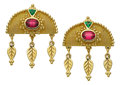 Estate Jewelry:Earrings, Pink Tourmaline, Tsavorite Garnet, Gold Earrings, Paula Crevoshay....