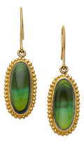 Estate Jewelry:Earrings, Green Tourmaline, Gold Earrings, Paula Crevoshay. ...