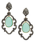 Estate Jewelry:Earrings, Diamond, Chrysoprase, Silver-Topped Gold, Gold Vermeil Earrings....