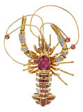 Estate Jewelry:Brooches - Pins, Ruby, Diamond, Gold Brooch, LeVian. ...