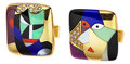 Estate Jewelry:Cufflinks, Multi-Stone, Diamond, Gold Cuff Links, Asch Grossbardt . ...