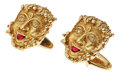 Estate Jewelry:Cufflinks, Ruby, Diamond, Gold Cuff Links, Lucien Piccard. ...
