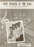 "Music Memorabilia:Sheet Music, Prisonaires ""Just Walking In The Rain"" Sheet Music (1953).Legendary R&B group's version of this song came more than threey..."
