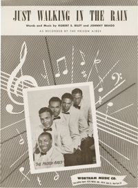 "Prisonaires ""Just Walking In The Rain"" Sheet Music (1953). Legendary R&B group's version of this song..."