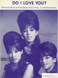 "Music Memorabilia:Sheet Music, Ronettes ""Do I Love You?"" Sheet Music (1964). Near perfect copy of the hard-to-find sheet music for the girl group's fourth ..."