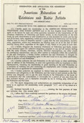 Music Memorabilia:Autographs and Signed Items, Beach Boys' Al Jardine Signed Contract. An application formembership in the American Federation of Television and RadioArt...