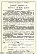 Music Memorabilia:Autographs and Signed Items, Beach Boys' Mike Love Signed Contract. An application formembership in the American Federation of Television and RadioArti...