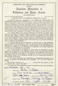 Music Memorabilia:Autographs and Signed Items, Beach Boys' Brian Wilson Signed Contract. This is an applicationfor membership in the American Federation of Television and...