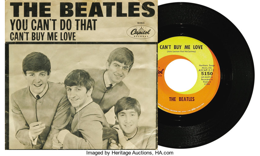 """Music Memorabilia:Recordings, Beatles """"Can't Buy Me Love""""/ """"You Can't Do That"""" 45 and PictureSleeve Capitol 5150 (1964). The second Capitol Beatles pictu..."""