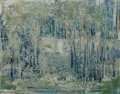 Texas:Early Texas Art - Modernists, David Brownlow (American, 1915-2006). Skyscrapers Beyond theWooded Creek, 1958. Oil on masonite. 23-1/2 x 30 inches (59...