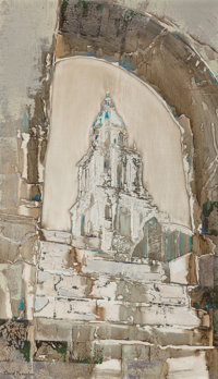 DAVID BROWNLOW (American, 1915-2006) Untitled (Cathedral Steps), 1957 Oil on masonite 40 x 24 inc