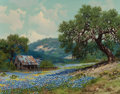 , William A. Slaughter (American, 1923-2003). Bluebonnets andBarn. Oil on canvas. 16 x 20 inches (40.6 x 50.8 cm). Signed...