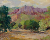 CLARA PANCOAST (American, 1872-1959) Summer Mountains Oil on canvasboard 18 x 22 inches (45.7 x 5