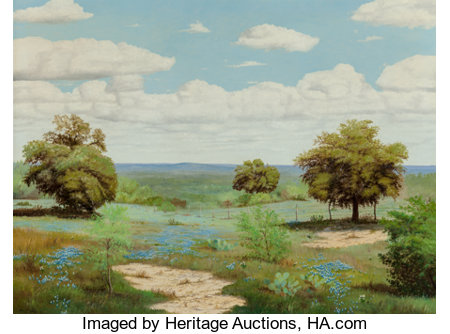 Manuel Garza (American, b. 1940)Hill Country Bluebonnets, 1971Oil on canvas30 x 40 inches (76.2 x 101.6 cm)Signe...