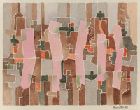 Bror Utter (American, 1913-1993) Abstract with Pink Forms, 1982 Watercolor on paper 7-1/4 x 9-1/4