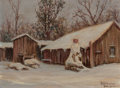 Texas:Early Texas Art - Regionalists, Rolla Sims Taylor (American, 1872-1970). Snowy Cabin, SanAntonio. Oil on canvasboard. 12 x 16 inches (30.5 x 40.6 cm)....