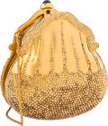 "Luxury Accessories:Bags, Judith Leiber Limited Edition Half Bead Gold Crystal ChatelaineMinaudiere Evening Bag, 87/150. Fair Condition. 4.75""..."