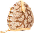 "Luxury Accessories:Accessories, Judith Leiber Full Bead Brown & Gold Crystal Snake MinaudiereEvening Bag. Very Good Condition. 4.5"" Width x 4.5""Heig..."