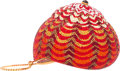 "Luxury Accessories:Bags, Judith Leiber Full Bead Red & Gold Crystal Seashell MinaudiereEvening Bag. Excellent Condition. 4.5"" Width x 3""Heigh..."