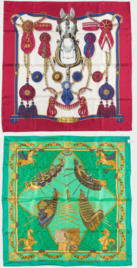 "Hermes Set of Two; 90cm Red & Blue ""Fontaux et Cocardes,"" by Caty Latham Silk Scarf and 90cm Green & G..."