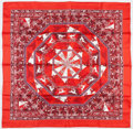 "Luxury Accessories:Accessories, Hermes 90cm Red & White ""Fleurs d'Hiver,"" by Sandra LarocheSilk Scarf. Excellent Condition. 36"" Width x 36""Length..."