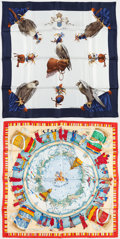 "Luxury Accessories:Accessories, Hermes Set of Two; 90cm Blue & White ""Chasse a Vol,"" by Henride Linares Silk Scarf and 90cm Blue & Red ""Prieres aux Vent,""by... (Total: 2 Items)"