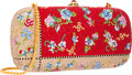 Luxury Accessories:Bags, Judith Leiber Full Bead Red & Gold Multicolor Crystal FloralMinaudiere Evening Bag . Very Good to Excellent Condition...