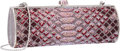 Luxury Accessories:Accessories, Judith Leiber Full Bead Pink & Silver Crystal Serpent PatternMinaudiere Evening Bag. Very Good to Excellent Condition....