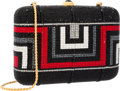 "Luxury Accessories:Accessories, Judith Leiber Full Bead Black & Red Crystal Minaudiere EveningBag. Very Good Condition. 6"" Width x 4"" Height x 1""Dep..."