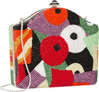 Judith Leiber Full Bead Multicolor Crystal Geometric Minaudiere Evening Bag Excellent Condition 5