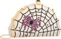 Luxury Accessories:Bags, Judith Leiber Full Bead Silver & Purple Crystal Spider WebMinaudiere Evening Bag. Very Good to Excellent Condition.7...