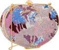 "Luxury Accessories:Accessories, Judith Leiber Full Bead Multicolor Crystal Heart Minaudiere EveningBag. Very Good to Excellent Condition. 5"" Width x ..."
