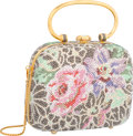 "Luxury Accessories:Accessories, Judith Leiber Full Bead Pink & Purple Floral Minaudiere EveningBag. Excellent Condition. 5"" Width x 4"" Height x 2""De..."