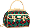 "Luxury Accessories:Bags, Judith Leiber Full Bead Red & Green Crystal Argyle Doctor BagMinaudiere Evening Bag. Excellent Condition. 5.5"" Width..."