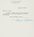 Autographs:U.S. Presidents, Eleanor Roosevelt Typed Letter Signed....