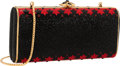 "Luxury Accessories:Bags, Judith Leiber Full Bead Black & Red Crystal RectangularMinaudiere Evening Bag. Very Good to Excellent Condition.7.5""..."