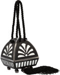 Luxury Accessories:Bags, Judith Leiber Half Bead Black Stingray & White Crystal JewelryBox Minaudiere Evening Bag by Andrew Gn . Excellent toPris...