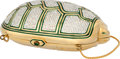 "Luxury Accessories:Bags, Judith Leiber Full Bead Silver & Green Crystal TurtleMinaudiere Evening Bag. Very Good to Excellent Condition.5.75"" ..."