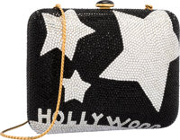 Judith Leiber Full Bead Black & Silver Crystal Hollywood Minaudiere Evening Bag Excellent Condition