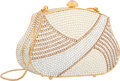 "Luxury Accessories:Bags, Judith Leiber Full Bead White & Gold Crystal Striped MinaudiereEvening Bag. Excellent Condition. 5"" Width x 3""Height..."