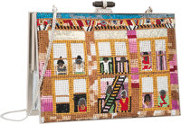 Judith Leiber Full Bead Yellow Multicolor Crystal Faith Ringgold Quilt Minaudiere Evening Bag Very Good Conditi