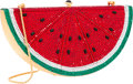 "Luxury Accessories:Accessories, Judith Leiber Full Bead Red & Green Crystal Watermelon Minaudiere Evening Bag. Very Good Condition. 5.5"" Width x 3"" He..."