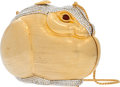 "Luxury Accessories:Bags, Judith Leiber Half Bead Silver Crystal Rabbit Minaudiere EveningBag. Very Good Condition. 5.5"" Width x 4"" Height x2""..."