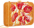Luxury Accessories:Accessories, Judith Leiber Full Bead Gold & Red Crystal Hunt SlonemRectangular Minaudiere Evening Bag. Very Good to ExcellentConditio...