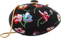 """Luxury Accessories:Bags, Judith Leiber Full Bead Silver & Multicolor Crystal EggMinaudiere Evening Bag. Very Good Condition. 5"""" Width x3"""" Hei..."""