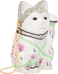 """Luxury Accessories:Accessories, Judith Leiber Full Bead Silver & Gray Crystal Waving Cat Minaudiere Evening Bag. Very Good Condition. 3.5"""" Width x 5.5..."""