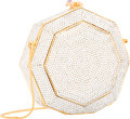 "Luxury Accessories:Bags, Judith Leiber Full Bead Silver Crystal Geometric Minaudiere EveningBag. Excellent Condition. 5"" Width x 5"" Height x 1..."