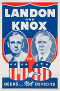 """Political:Posters & Broadsides (1896-present), Landon & Knox: Rare Giant 28"""" x 42"""" Size of this Classic 1936Jugate Poster...."""